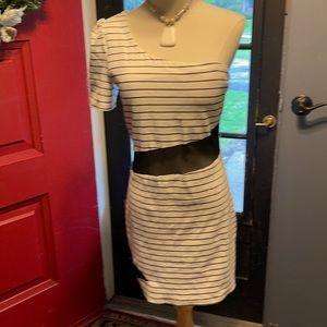 One shouldered mini dress. With see thru waist.
